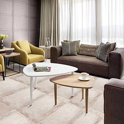 GreenForest Modern Coffee Table Set of 2 for Living Room Small Places, 31.5″ Side Table Modern End Table with Metal Legs Two-Tone Color Review