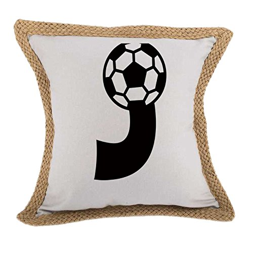 ''J '' Soccer Initial Monogram Letter J Bed Home Decor Faux Linen Pillow Cover Gray by Style in Print