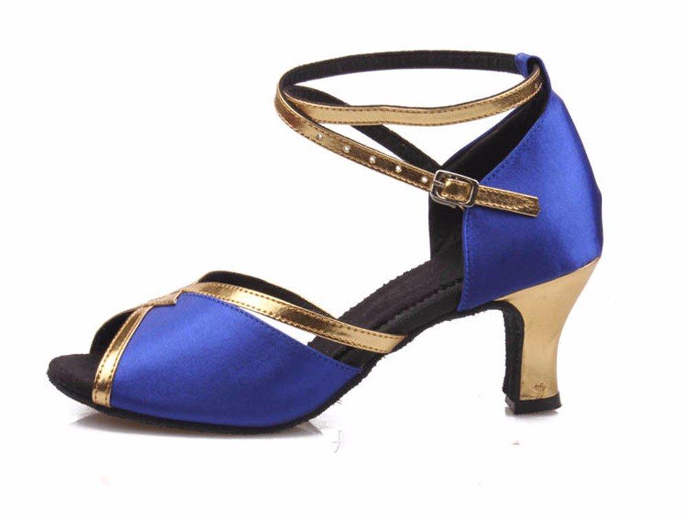 Bleu Masocking@ Femme Chaussures de Danse Sandales L'usure de la soie brute de plancher bas US8 EU39 UK6 CN39