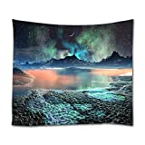 Ihome888 Space Star Moon Tapestry, Polyester Wall Hanging for Bedroom Living Room Dorm Wall Decor, 80 Inch by 60 Inch, Colorful
