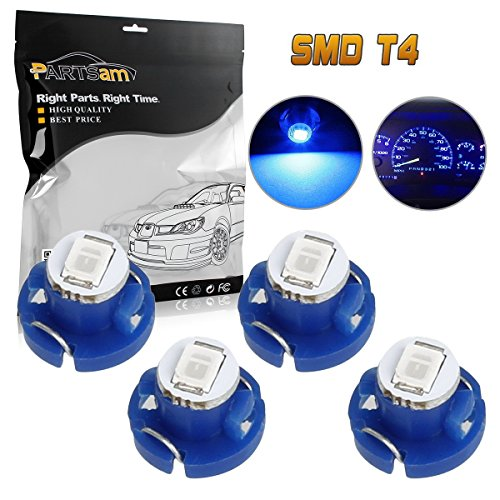 Partsam 4pcs T4 Neo Wedge AC Climate Controls Cluster Dash Light Bulb Blue 10mm 12V for 2005-2010 Toyota Tacoma -