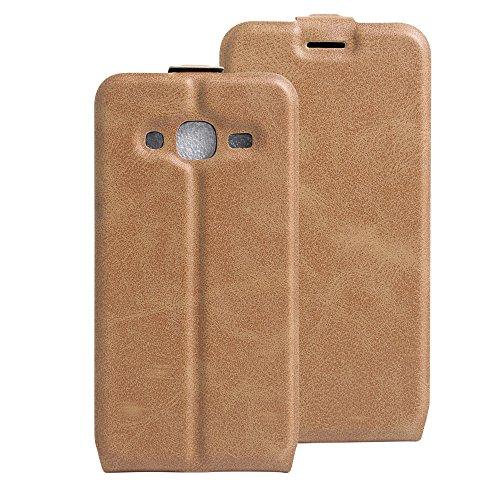 Qiaogle Teléfono Case - Funda de PU Cuero Billetera Clamshell Carcasa Cover para Samsung Galaxy Trend 2 Lite SM-G318H / SM-G313H - FC12 / Negro Moda Elegante estilo FC15 / Marrón Moda Elegante estilo