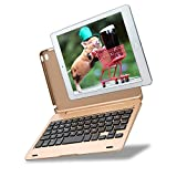 Kiwetaso iPad Mini 4 Case with Keyboard Portable Tiny Clamshell Bluetooth Smart Cover with Keyboard for iPad Mini 4(Gold)
