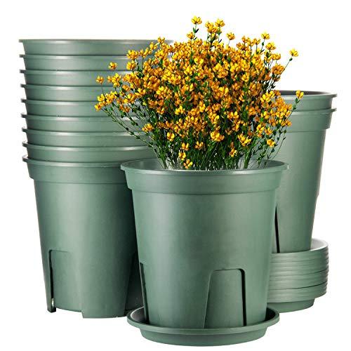 EHWINE Plant Pots, 7 Inch Planters for Indoor Plants Set of 12 Plastic Planters Flower Pots Indoor Plant Pots with…