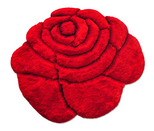 Luxury Linen Collection Flower Shape Pop Out Luxury Design Shaggy Bedroom Area Rugs Modern Living Room Carpet 3D Floral Rug Soft Shaggy Area Rugs /Carpet 100 cm X100 cm # 785 (Red) (Pop Shaped Flower)