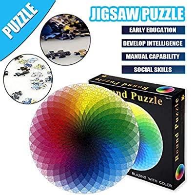 Puzzle-Blooming Color-1000 Pieces Color Challenge Blue Board Round Jigsaw Puzzles for Adult Children's Educational: Toys & Games