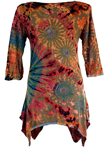 Rostorange Kurze Pixi 38 Bekleidung Kleid Size Minikleid Damen Batik Guru Kleider Synthetisch Boho Grün Shop Alternative wBPqICZ