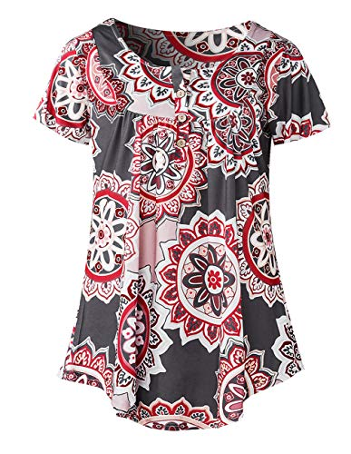 Women Casual Tunic Pleated Dress Ethic Flowy Flatter Loose Dress Swing Midi Tunic Paisley Dress D-Brown