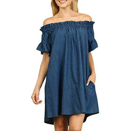 6cbc2fa3b299 Amazon.com  Forthery Women s Blue Jean Legging Off Shoulder Ruffle Short  Sleeve Loose Shirt Mini Dress (XL