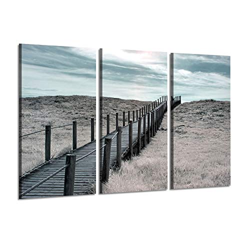 (Coastal Landscape Arts Pier Picture: Wooden Dock Over The Beach at Sunset Photographic Print on Wrapped Canvas Set for Walls Murals)