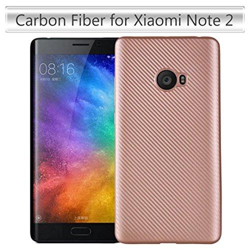 YHUISEN Xiaomi Mi nota 2 caso, caucho delgado de fibra de carbono Soft TPU Hybrid cubierta de la caja a prueba de choques para Xiaomi Mi Nota 2 ( Color : Rose Gold ) Rose Gold