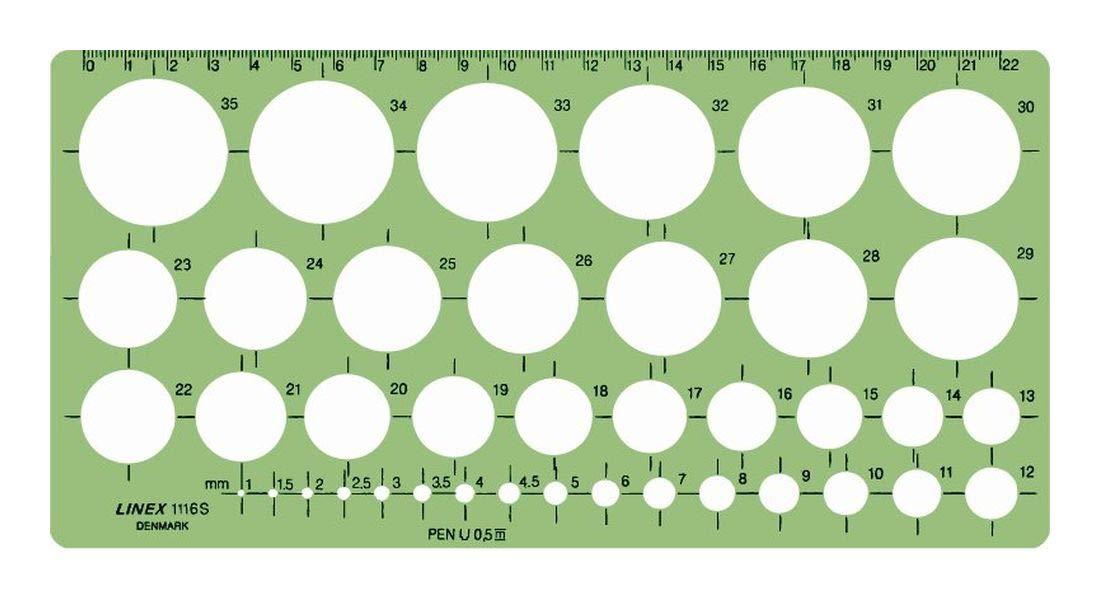 colore: Verde trasparente 240 x 120 mm Sagoma circolare con 39 cerchi di diametro 1-35 mm Linex 100413074 1116S