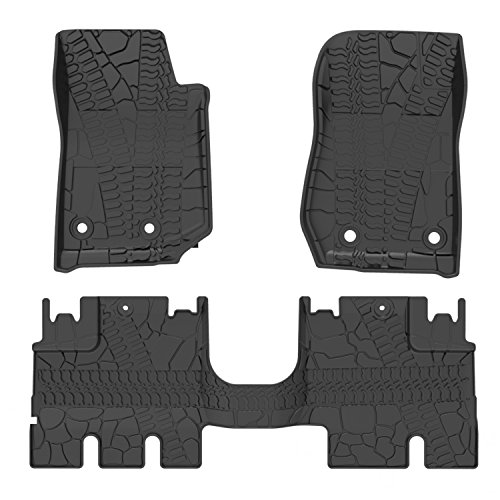 oEdRo Floor Mats Liners Compatible for 2014-2018 Jeep Wrangler JK Unlimited 4 Door (Not for JL),TPE All Weather Protection, Includes Front and Rear Floor Liners 2 Piece 16' Snap Ring