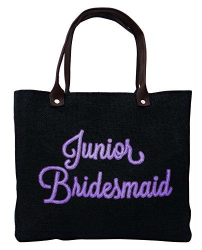 Junior Bridesmaid Wedding Favor Thank You Gift Bag Black Jute Hand Embroidered Handbag Gift Tote