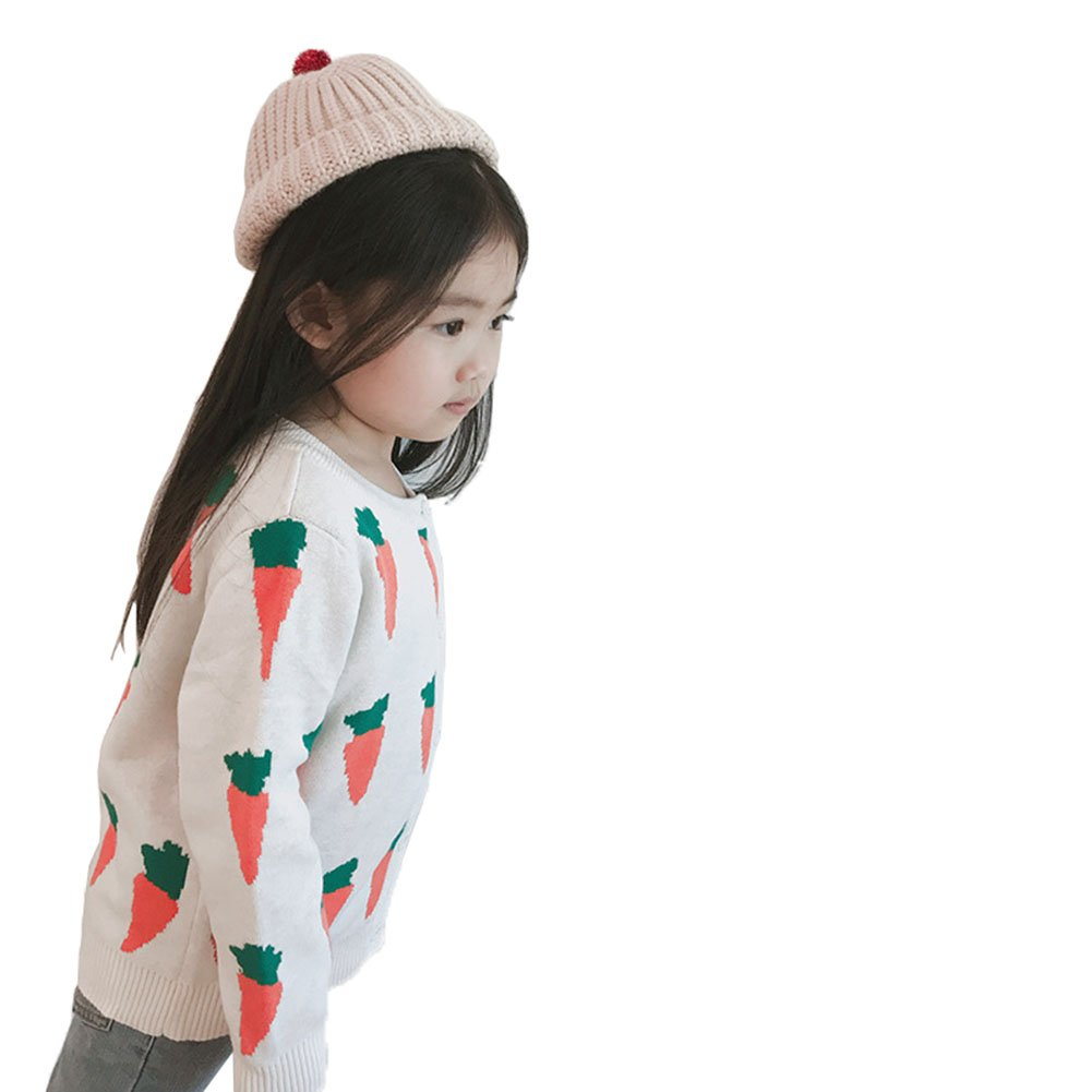 TAIYCYXGAN Toddler Baby Girls Knit Sweater Jackets Kids Crew Neck Cotton Carrots Winter Cardigan Sweaters