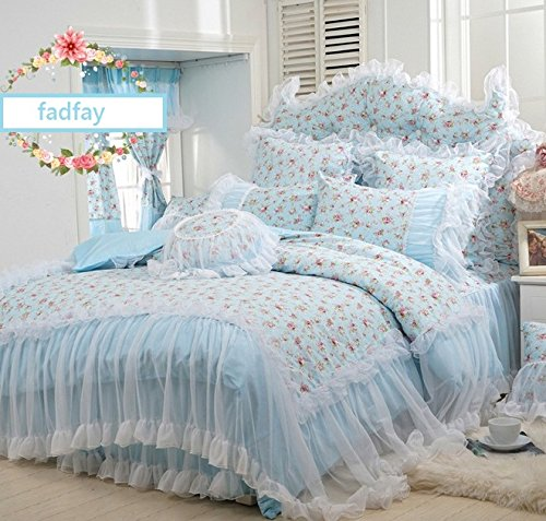 FADFAY Home Textile,Korean Pink Lace Ruffle Bedding Set,Romantic Pink Rose Floral Print Bedding Set,Princess Girls Fairy Bedding Sets Queen Size