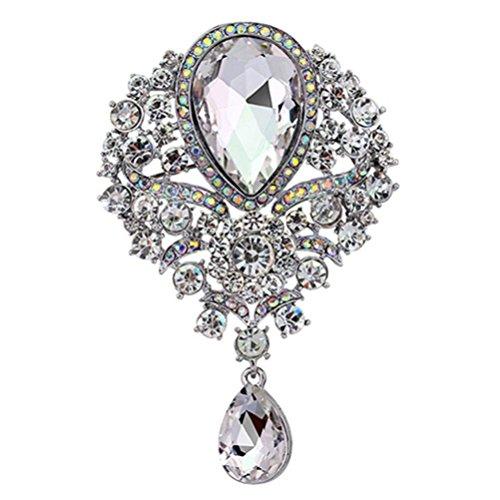Drop Rhinestone Brooch - SANWOOD womem's Wedding Bridal Bouquet Clear Crystal Rhinestone Teardrop Dangle Brooch Pin (Silver)