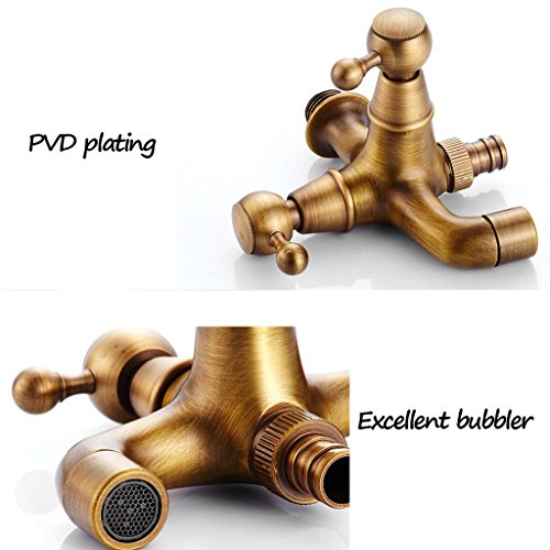 Faucet-European antique copper 4 points 6 points washing machine lengthened into the wall single cold mop pool (Color : E) by Faucet (Image #3)