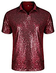 Men's Short Sleeve Sequin Polo Shirt