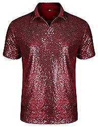 Men's Short Sleeve Sequin Polo Shirt