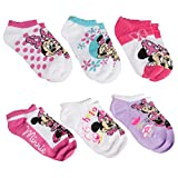 (US) Planet Sox (6 Pack) Minnie Mouse Little Girls No Show Ankle Socks, Kids Shoe Size 7-10