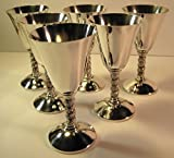 Cordial Glasses (Silver Plated), J Perez Ruiz of Spain, Set of 6, 5 3/4 Inches