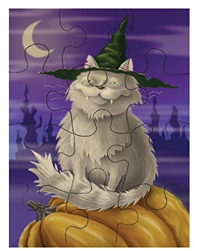 Style in Print Grey Cat Hat Witch Halloween Picture Jigsaw Puzzle Print 30 (Halloween Jigsaw Puzzles To Print)