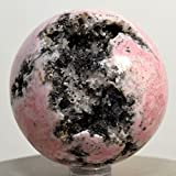 2.3'' Rhodochrosite Sphere Rich Pink Natural Druzy Mineral Ball Polished Extra Grade Crystal Rhodocrosite Stone of Love- Peru + Plastic Stand