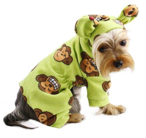 Adorable Silly Monkey Fleece Dog Pajamas / Bodysuit with Hood Size: X-Small, Color: Lime (Adorable Dog Fashion)