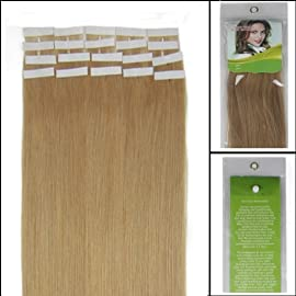 16 Inch Color Long 27 Dark Blonde Tape in Premium Remy Human Hair Extensions_20 Pcs Set 30g Weight Straight Women Beauty Salon Style Design