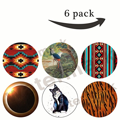 Premium Pop Out Mobile Phone Expanding Pop Grip Mount Holder Stand Sockets for iPhone,Samsung,htc and Tablets 6 Pack-(Z42) TIGER,tomcat,Total Solar Eclipse,Tribal Ethnic Motif,pheasant,Tucson Tribal