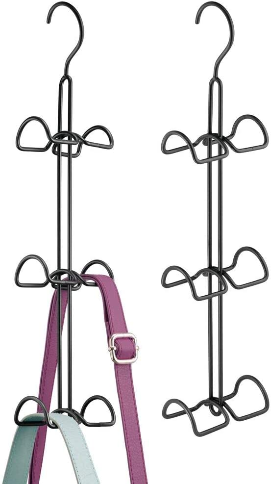 mDesign Metal Wire Over The Closet Rod Hanging Storage Organizer Hanger for Storing and Organizing Purses, Backpacks, Satchels, Crossovers, Handbags - 2 Pack - Black