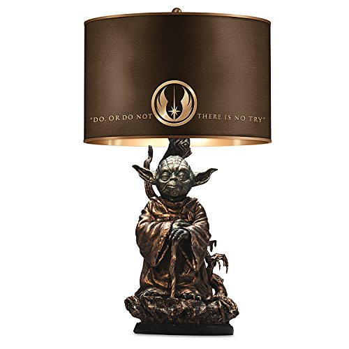 Table Collectible Lamp - STAR WARS Yoda Bronze - Colored Resin Lamp with Quote on Lamp Shade by The Bradford Exchange