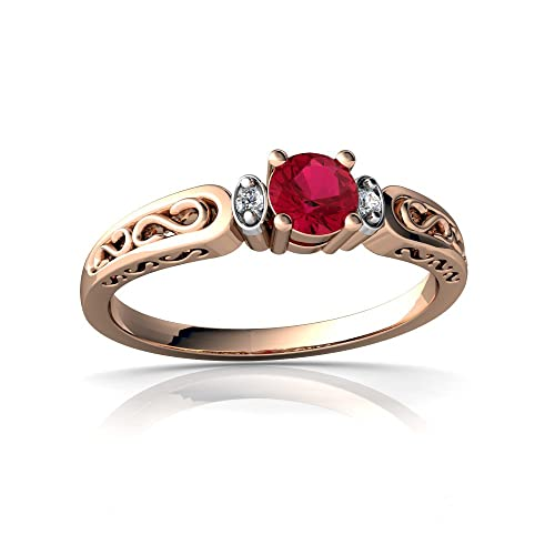 14kt Gold Lab Ruby and Diamond 4mm Round filligree Scroll Ring