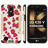 "[Mobiflare] LG [K20 V/ K20 plus] LG Harmony Shock Proof Armor Protection [Gold/Black] Ultra Defender Protective Phone Case - [Strawberries] for LG [K20 V/ K20 plus/ Harmony] [5.3 "" Screen]"