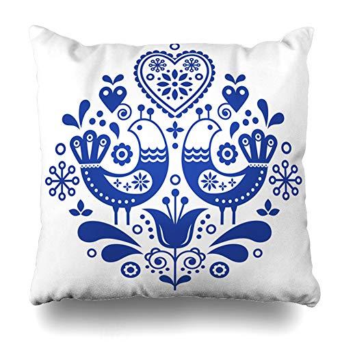Ahawoso Throw Pillow Cover Norway Scandinavian Folk Pattern Birds Flowers Floral Creative Cute Danish Denmark Ethnic Design Leaf Home Decor Pillowcase Square Size 16 x 16 Inches Zippered Cushion Case