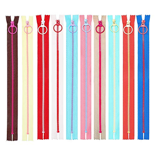 (Rocutus 10pcs Plastic Resin Zippers with Lifting Ring Pull Close End Vislon Zippers for DIY Sewing Craft Bags Garment (16 Inch))