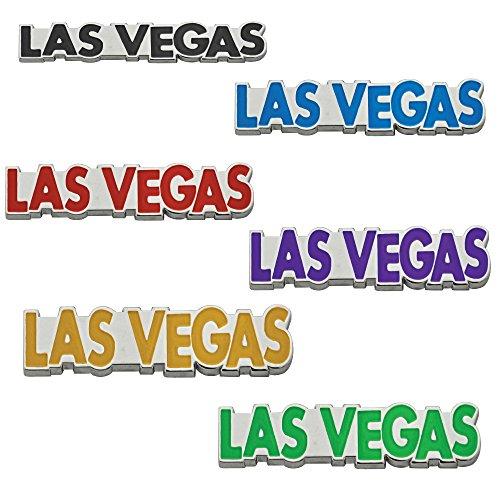 - Las Vegas Magnet Embossed Metal Las Vegas Souvenir Refrigerator Magnets (Pack of 6 Assorted Colors)