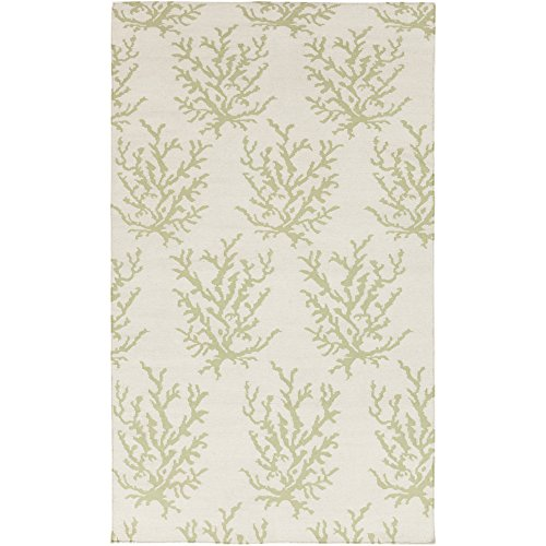(Somerset Bay by Surya Boardwalk BDW-4008 Coastal Flatweave Hand Woven 100% Wool Lettuce Leaf 8' x 11' Area Rug)