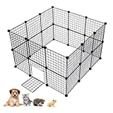 Cheap Greesen Small Animal Playpen, DIY Dog Kennel Fence Metal Dog Pen with Door and Cable Tie Portable Dog Enclosures for Guinea Pig Dog Cat Rabbit Ferret, Outdoor and Indoor, Black(24 Panels)