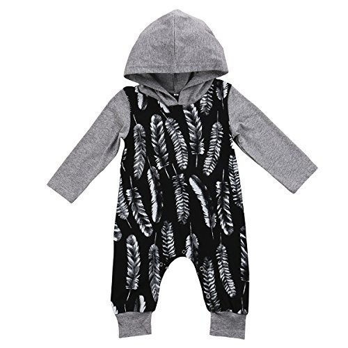 Newborn Baby Boys Girls Long Sleeve Hoodie Romper Full Feathers Print Splice Harem Jumpsuit (6-12M, Grey)