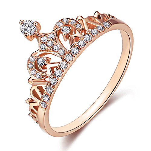 Presentski Women Crown Tiara Rings Exquisite 18K Rose Gold Plated Princess Tiny CZ Diamond Accented Promise Rings (Rose Gold, 9)