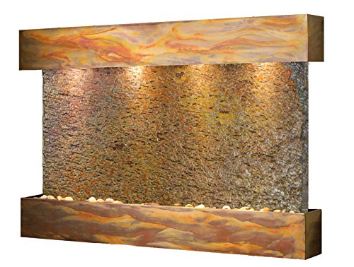 (Sunrise Springs Water Feature with Rustic Copper Trim and Square Edges (Natural Multi-color  Slate))