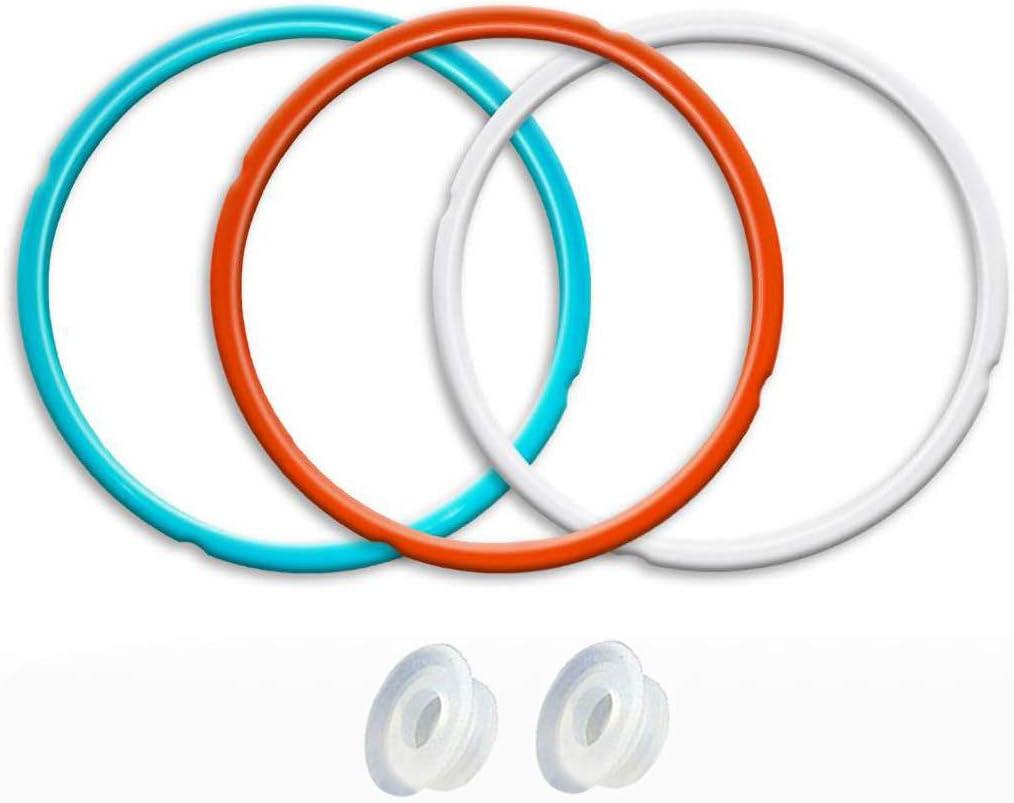 bleu ciel id/éale pour 8 qt 3 paquets rouge cerise et blanc transparent commun Anneau d/étanch/éit/é en silicone pour Instant Pot