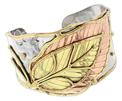 (Anju Mixed Metal Cuff Bracelet (Large Leaf))