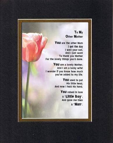 Touching and Heartfelt Poem for Mothers - To My Other Mom (From daughter-in-law) Poem on 11 x 14 inches Double Beveled Matting (Black on Gold)
