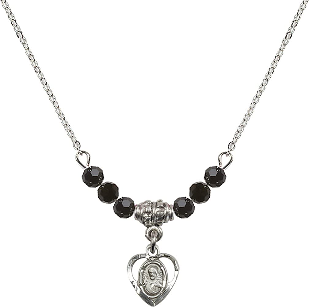 18-Inch Rhodium Plated Necklace with 4mm Jet Birthstone Beads and Sterling Silver Scapular Charm.