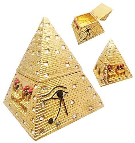 ATL Egyptian Golden Mirror Pyramid Eye of Horus HINGED Jewelry Box Figurine Statue