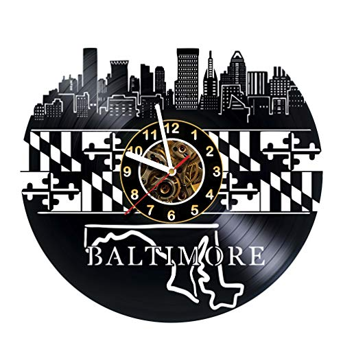 AlinasSHOP Baltimore - Wall Clock Made of Vinyl Record - Handmade - Unique Design - Great Gifts idea for Birthday, Women, Men, Friends, Girlfriend Boyfriend and Teens, Maryland, City ()