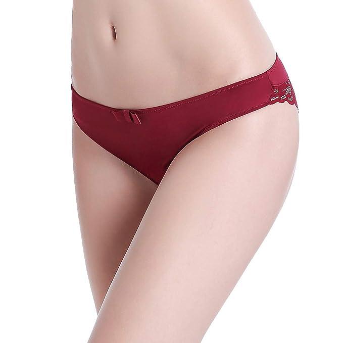 Bragas Ropa Interior de Encaje Transparente de Mujer Hipster Cintura Baja Transparente Bonita Ropa Interior (